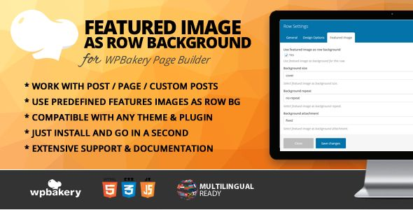 Row Featured Image Addon for WPBakery Page Builder