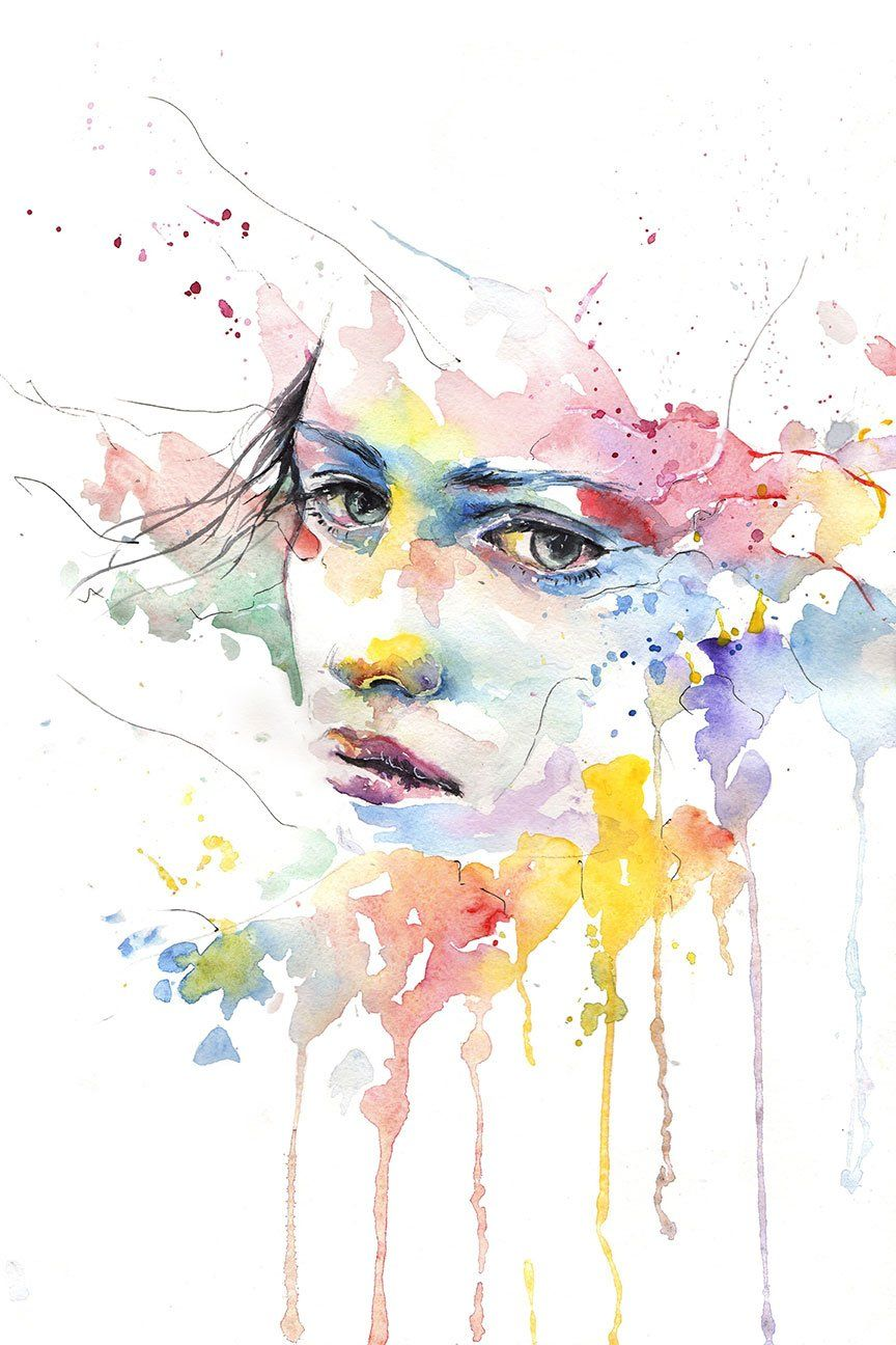 Abstract Women S Face Large Modern Art Watercolor Art Lessons