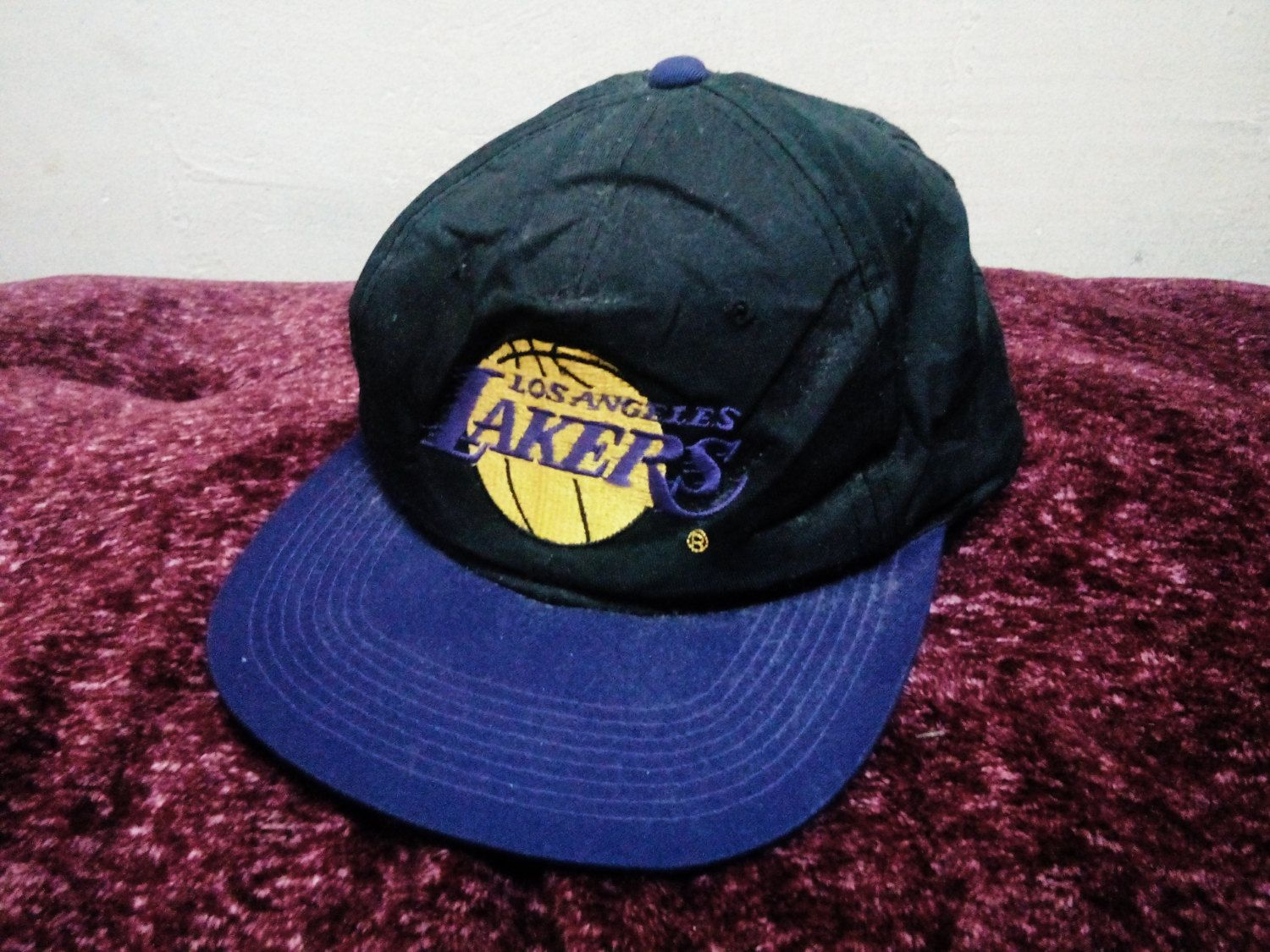 3148bb6bfa056 Vintage L.A Lakers Basketball Caps Big Logo Designs NBA 90 s Era Celebrity  Fashion style Fabulous Swag hip hop Free Size by Psychovault on Etsy
