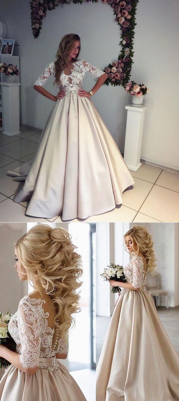 f3093efcc5b2 elegant prom dresses, 2018 prom dress, half sleeves long prom dress,  champagne long prom dress