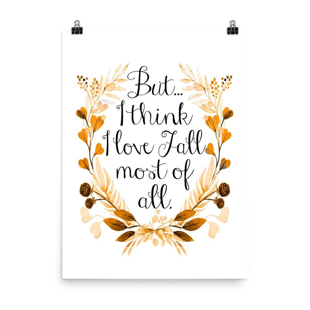 Download I Love Fall Most of All Poster Print l Autumn Watercolor ...
