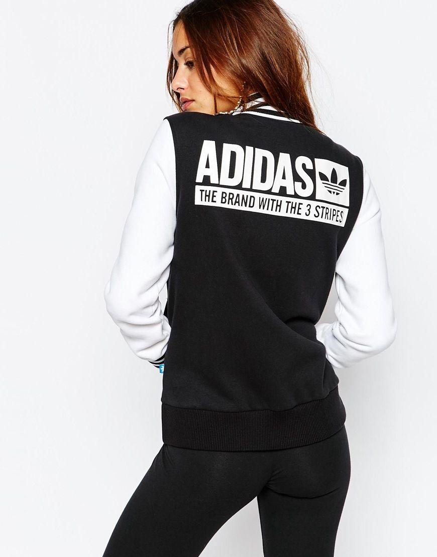 Adidas Originals Bomber Jacket With Back Box Logo At Asos Com Jackets Bomber Jacket Adidas Originals