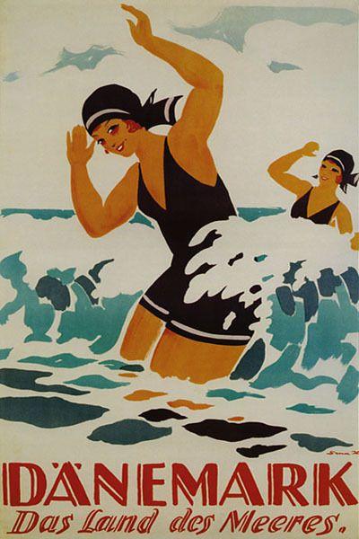 Denmark Girl Scandinavian Ocean Land Swim Travel Vintage Poster Repro Large Vintage Beach Posters Vintage Posters Vintage Travel