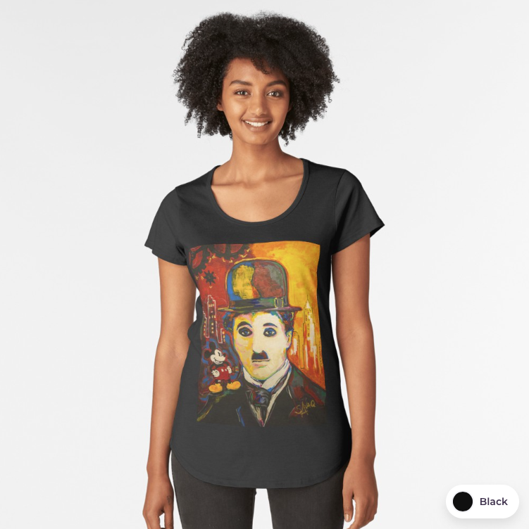 Charlie Chaplin Art Print Womens Premium T Shirt Painting