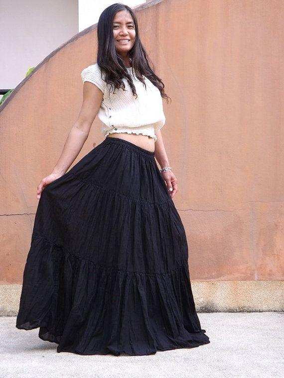 df5d5ea4be Long Boho Skirt ....Long Maxi Skirt ..Full Length Skirt...Color Black