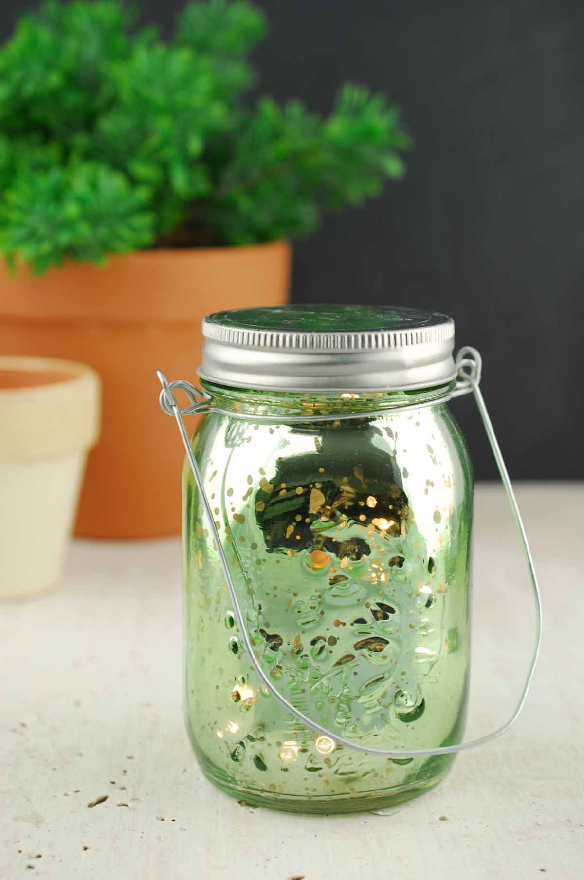 Green Mercury Glass Mason Jar 5 25 With Led Lights Battery