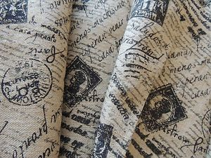Lovely Printed Burlap Fabric By The Yard French Chic