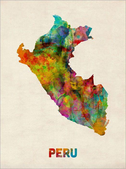 Lima Peru Karte.Peru Watercolor Map Art Print 1023 Travel Peru List