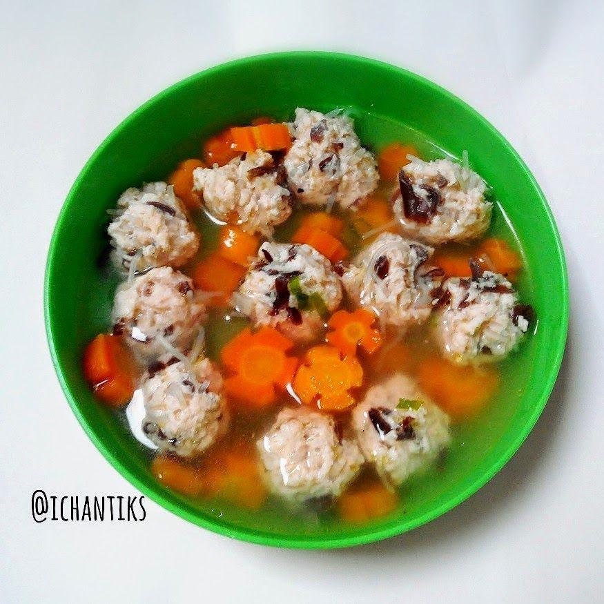 Cerita Mami Kenzie Resep Mpasi Sup Bola Ayam Jamur Soun 9m Makanan Balita Resep Makanan Bayi Makanan Bayi