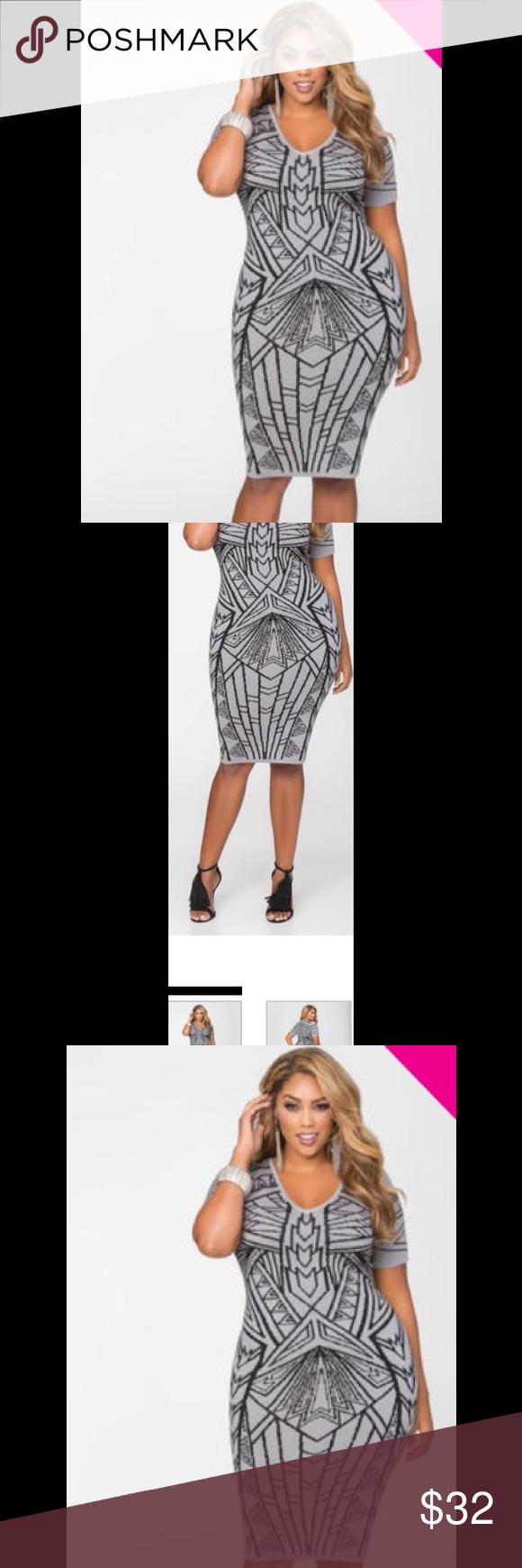 Geo print bodycon dress plus