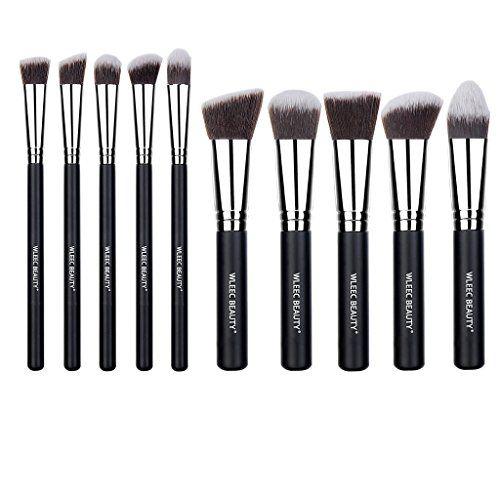 5c9247ec80 Wleec Beauty 10 Pieces Professional Cosmetic Brushes Kabuki Makeup Brushes  Set and Eye Brush Set with Travel Brush Holder *** Click image to read more  ...