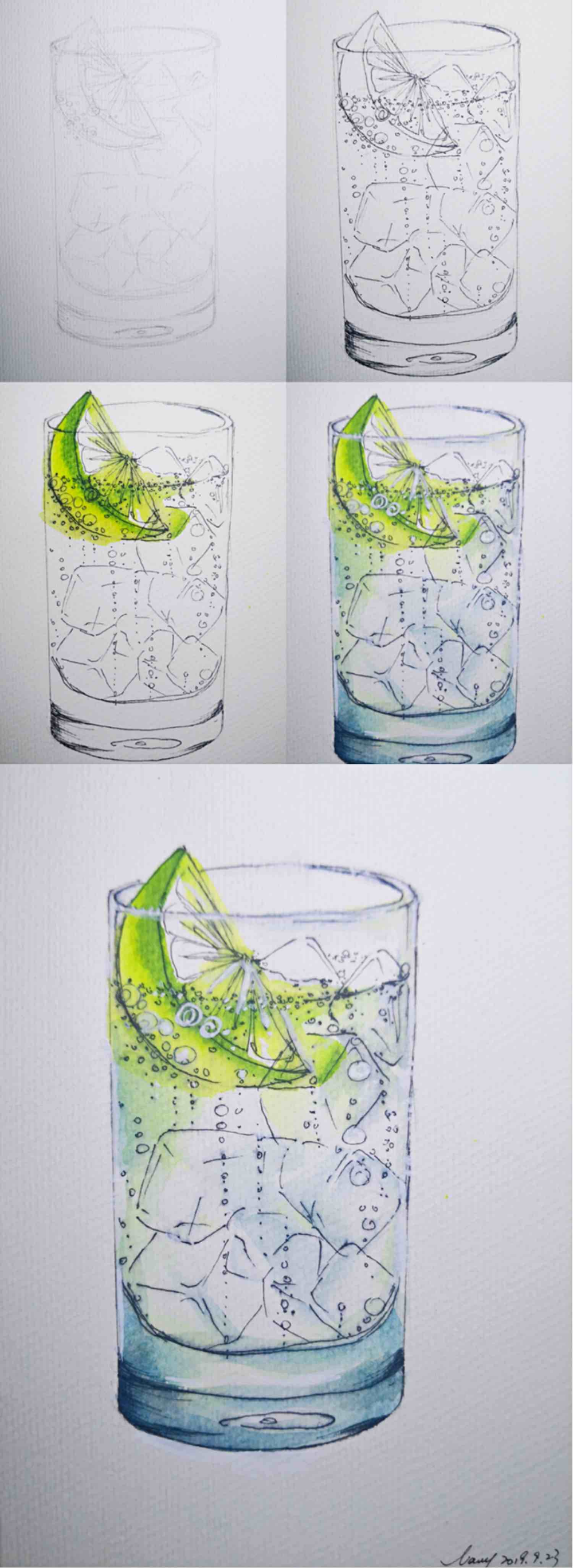 How to paint lemon bubble water withe ice cubes