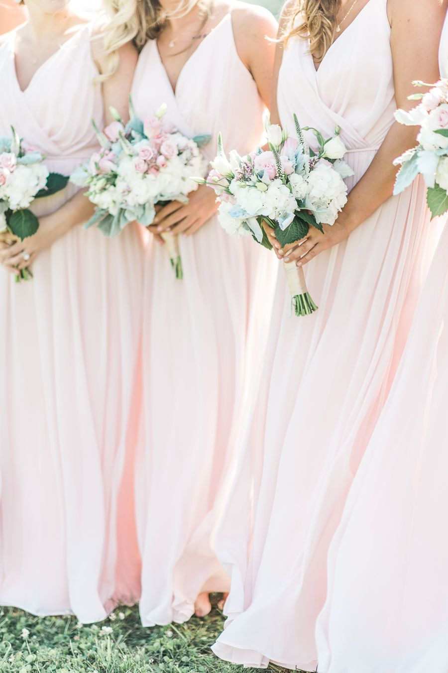 Super Elegant And Dreamy Natural Blush Outdoor Vineyard Wedding Blush Pink Bridesmaid Dresses Pink Bridesmaid Dresses Long Blush Bridesmaid Dresses Long