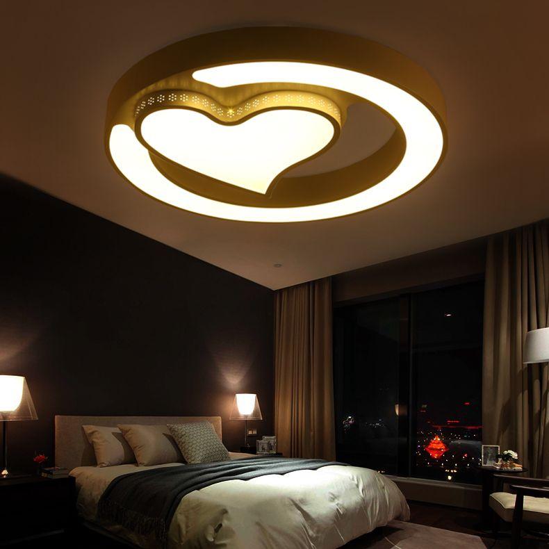 Korean Led Ceiling Lights Bedroom Lamp Round Warm And Romantic Room Light Simple Mode Bedroom False Ceiling Design Ceiling Design Bedroom Bedroom Ceiling Light