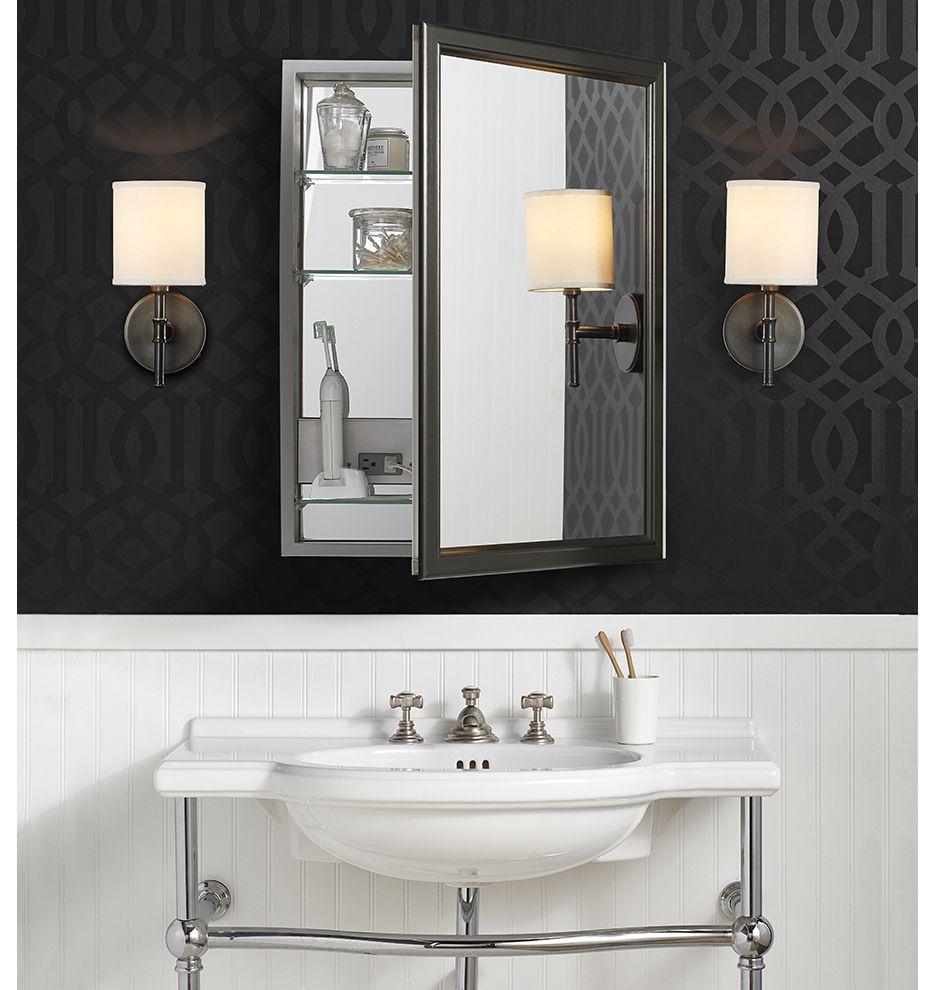 framed medicine cabinet with outlet brushed black left on bathroom vanity cabinets clearance id=71418