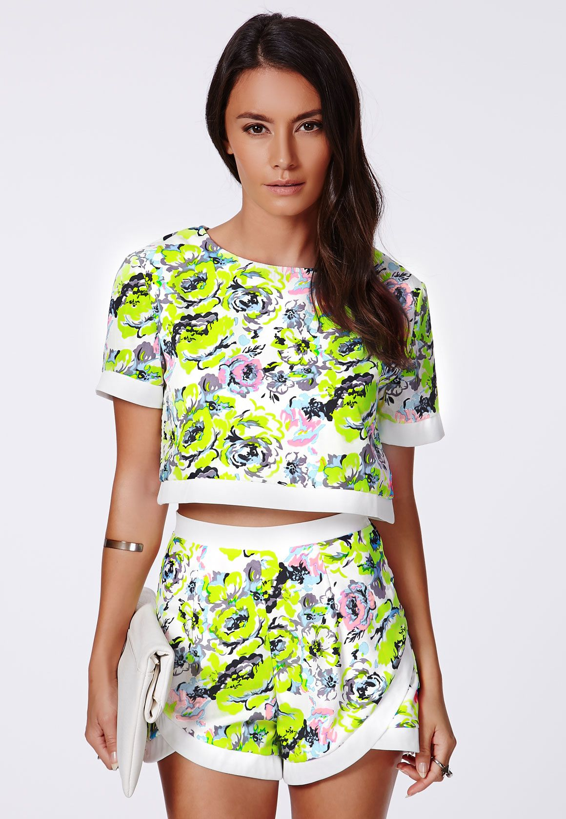 92406d706f4fb Multi Neon Floral Wrap Over Back Cropped Boxy Top
