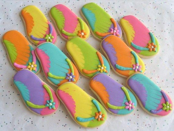 325cd45132b99 FLIP FLOP Cookie Favors - Flip Flop Decorated Cookies - 1 Dozen ...