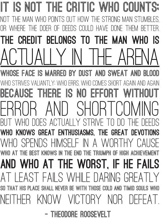 image regarding The Man in the Arena Printable titled Person in just the Arena Print - PDF Model All Crafts All The