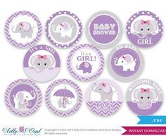 Purple Grey Girl Elephant Baby Shower Cupcake Toppers,Favor Tags, Oh Baby   Chevron