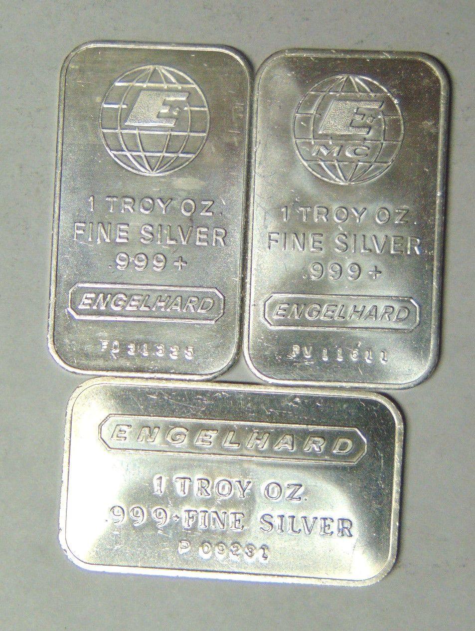 Set Of 3 Engelhard 999 Fine Silver 1 Oz Bars 3 Different Design Types 111117 Fine Silver Silver Design