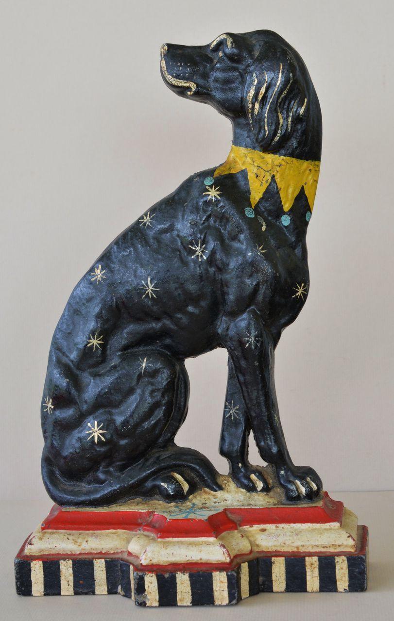 Large Antique Cast Iron Dog Doorstop Black Dog W White Stars And