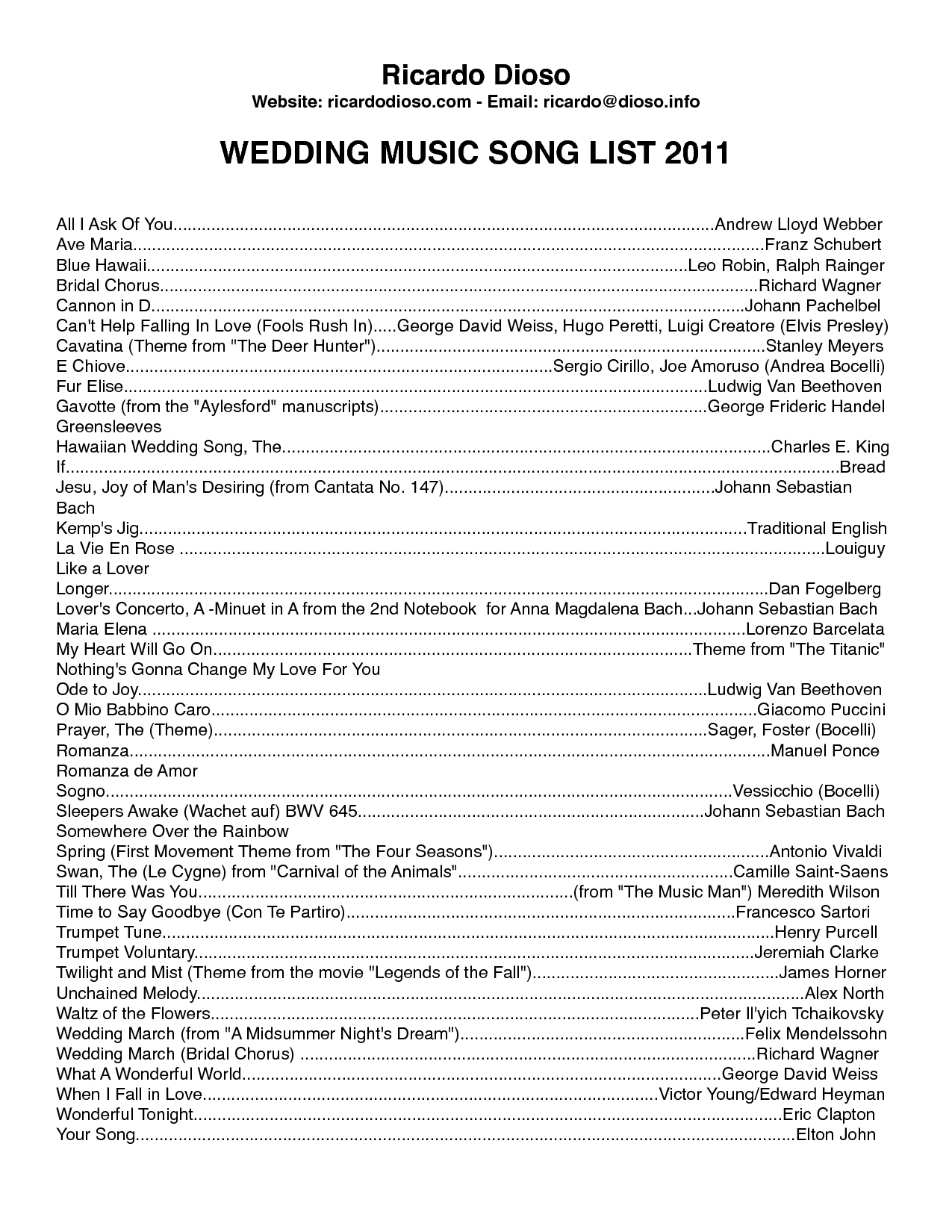 Wedding Dj Checklist Template Zrom