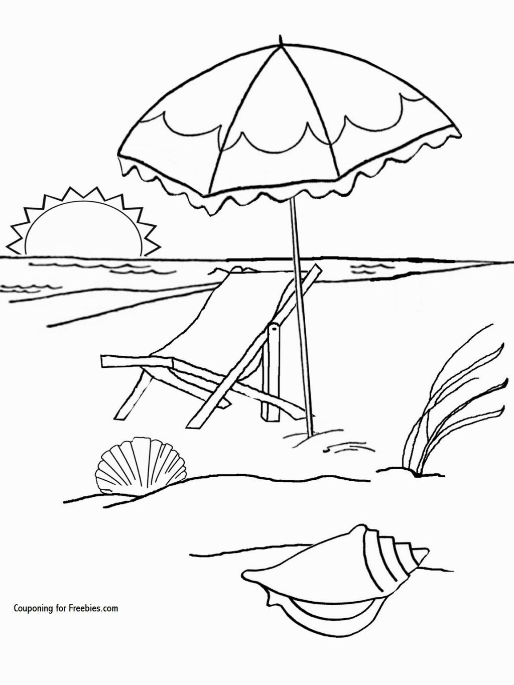 Beach Coloring Page | Coloring Pages | Pinterest