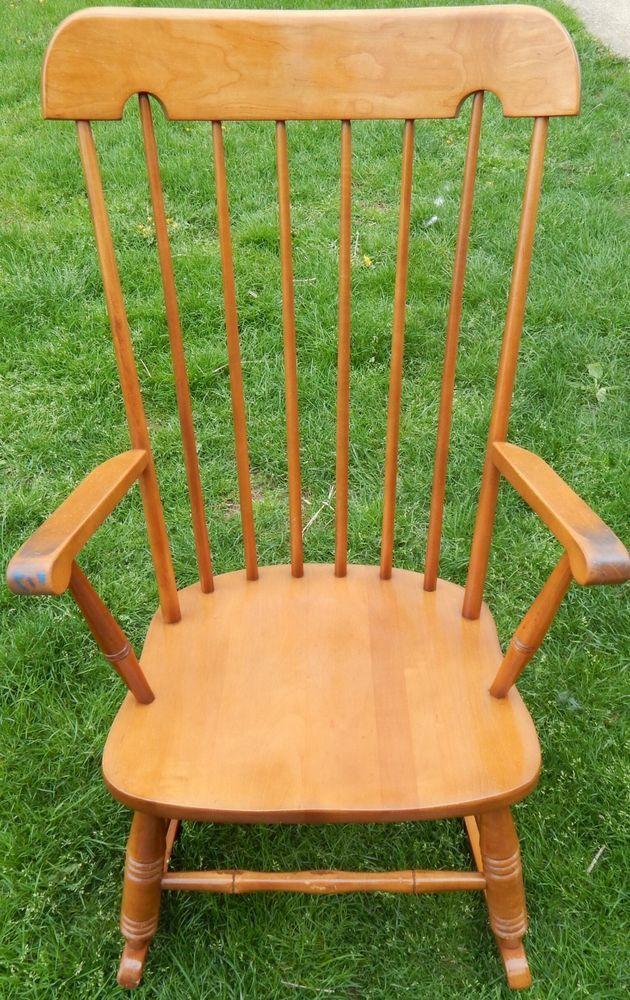 Vintage Virginia House Furniture Co Solid Wood Rocking Chair Rocker 1000 1 1069 Virginiahousefurniturecompany