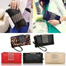 Women Rivet Zipper Wallet Holder Card Coin Clutch Purse Wristlet Evening Bags