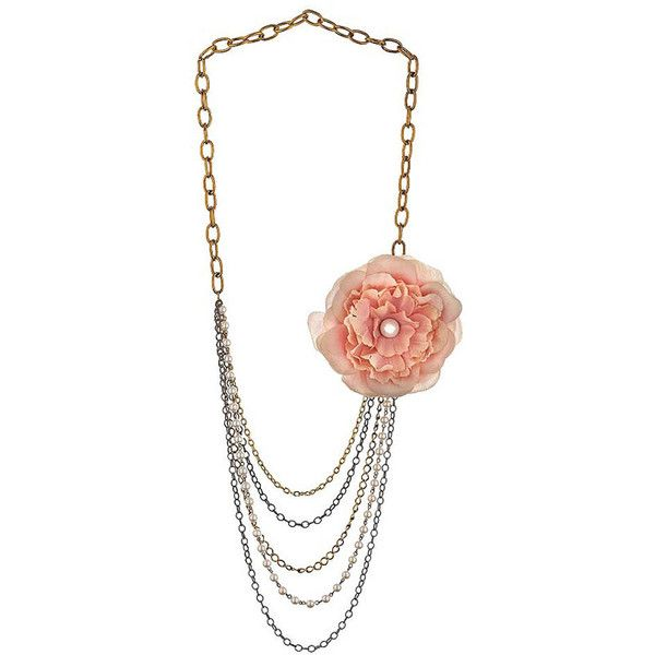 Ruffle Flower Necklace ($40) ❤ liked on Polyvore featuring jewelry, necklaces, accessories, fillers, colar, women, flower chain necklace, multi strand chain necklace, peach jewelry и flower necklace