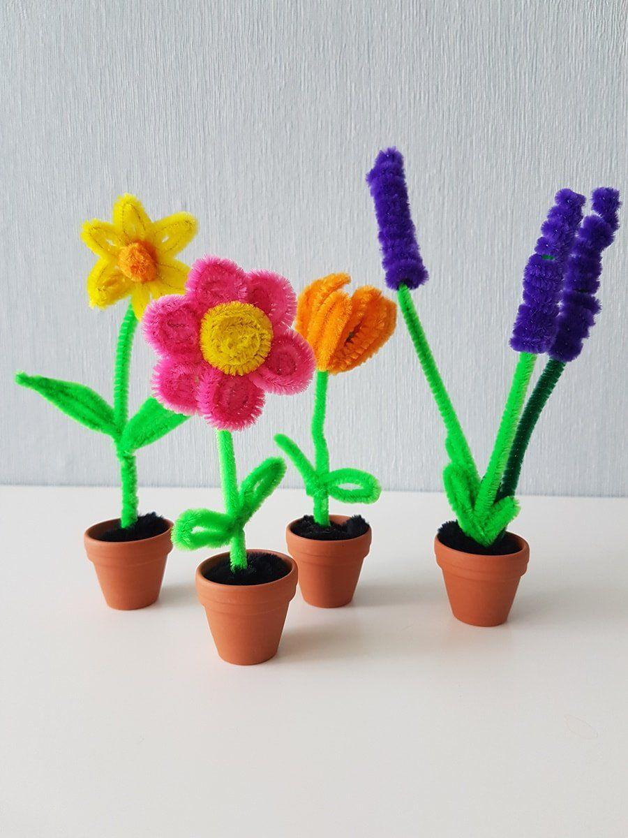 Pfeifenputzer Blumen Basteln Einfache Schritt Fur Schritt Diy