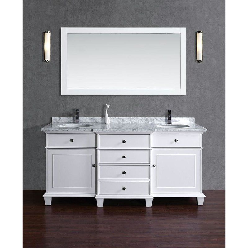 "Dixie 72"" Double Bathroom Vanity Set With Mirror & Reviews  Birch Amazing Bathroom Cabinet Reviews Inspiration"