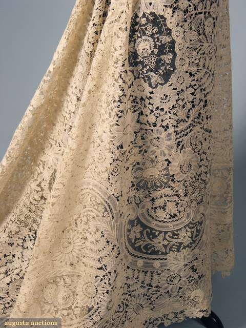 Deconstructed Brussels mixed lace skirt, c. 1900.