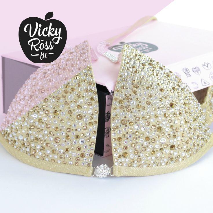 Vicky Ross Fit Competition npc ifbb Fitness Bikini poseren pak topaas kristal & 5 ...  - Designer Co...