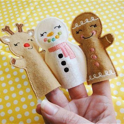 Fingerpuppen  (Renntier, Schneemann, Lebkuchen)