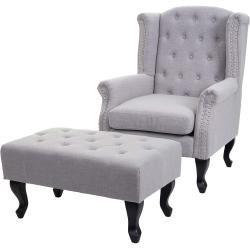 Sessel Chesterfield Relaxsessel Clubsessel Ohrensessel Stoff Textil Wasserabweisend Grau Mit Ott Sessel Chesterfield R In 2020 Furniture Foyer Decor Chesterfield