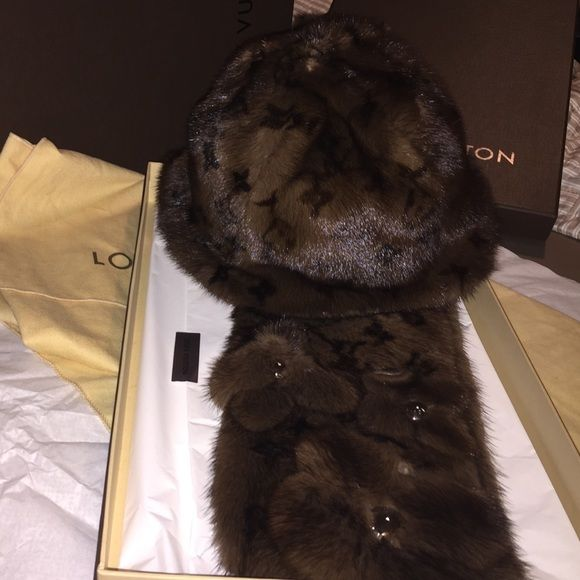 Louis Vuitton monogram Fur Hat and Fur Scarf LV fur hat and scarf. Selling  separately d34209163ba