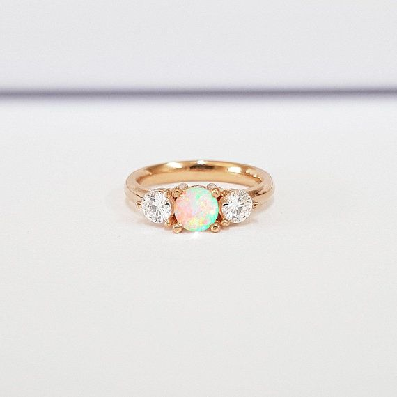 88695ed6e06292 Opal and moissanite engagement ring 3 stone diamond ring handmade in ...