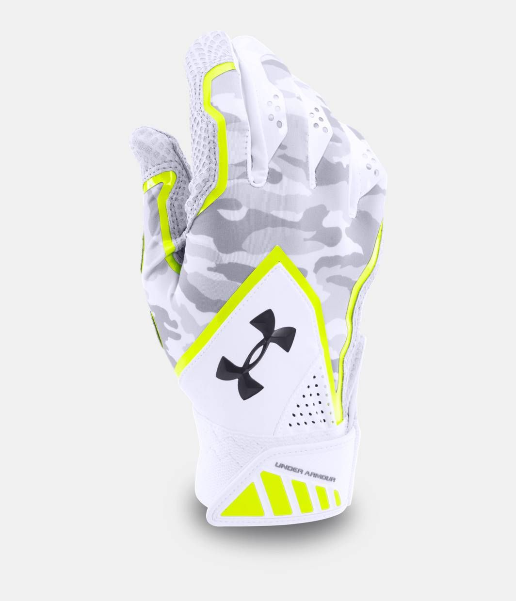Under Armour Clean Up Batting Gloves Pair 1299530 White//Green Large