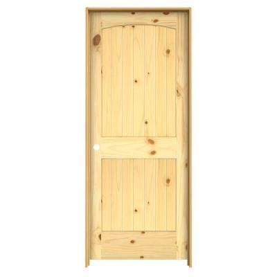 JELD WEN, Woodgrain Archtop V Groove Solid Core Finished Knotty Pine Single Prehung  Interior Door With Primed Jamb, At The Home Depot   Tablet