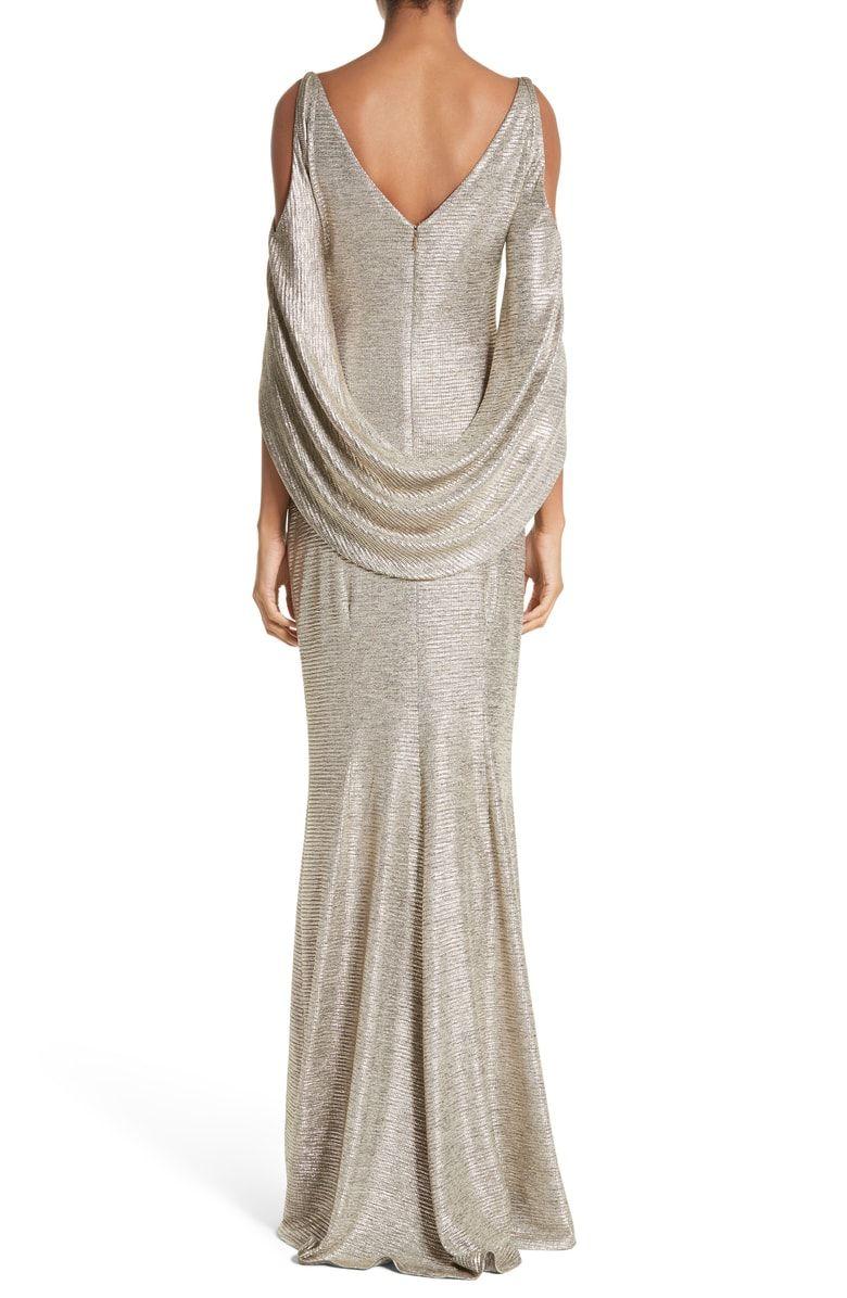 Casual wedding dresses with color  Cold Shoulder Drape Back Gown Alternate color Gold  wedding