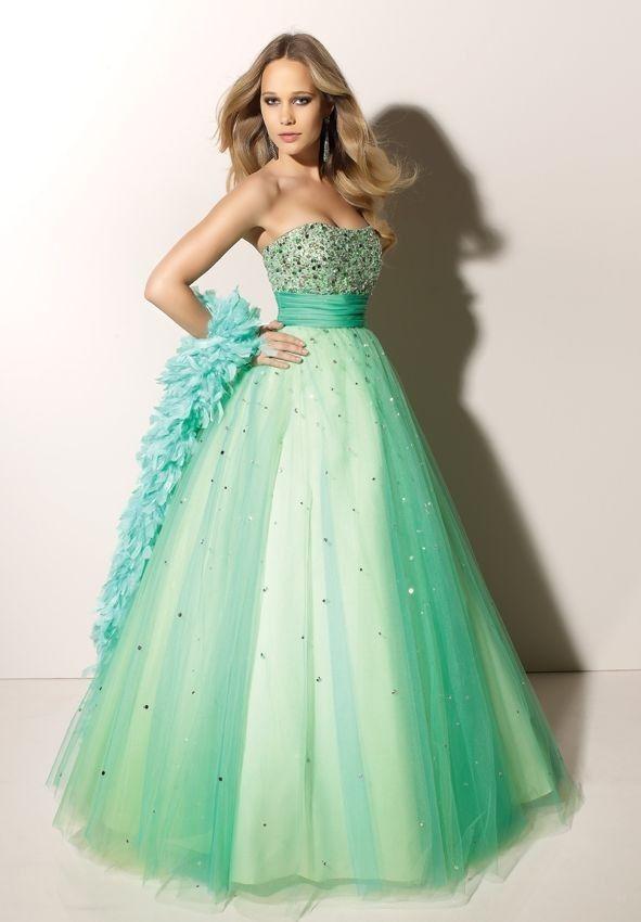 sequin tulle strapless dress green