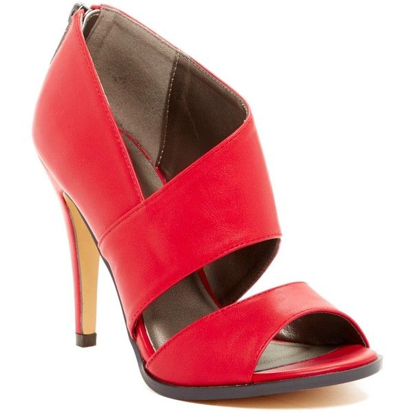 Michael Antonio Lovely Peep Toe Heel ($30) ❤ liked on Polyvore featuring shoes, pumps, red, cut out pumps, red peep toe pumps, peep toe shoes, rubber sole shoes and michael antonio shoes
