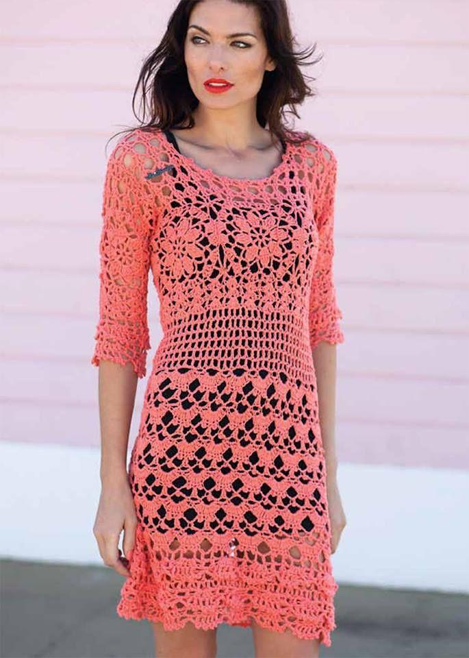 bc0419f63 VESTIDOS COM MEIA MANGA … | vestidos croche | Croch…