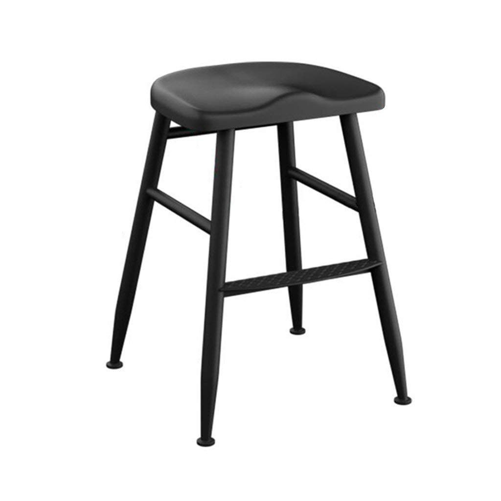 Chuan Han Chair Kitchen Footstool Curved Seat Bar Cafe Breakfast Bar Bar Stool Metal Black Height 55cm Vintage Bar Stools Bar Stools Dining Stools
