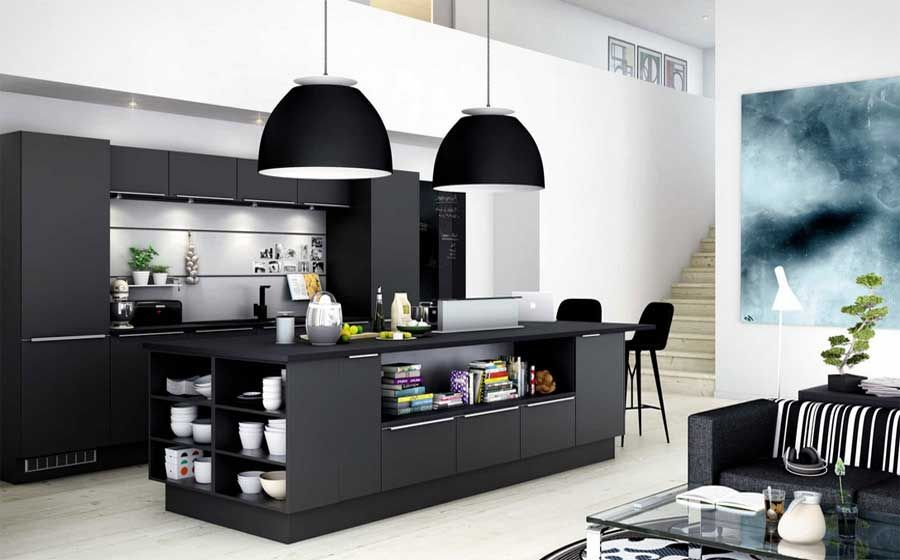 Funktionelle Küchenmöbel Ideen Moderne kücheninsel mit Regal ...