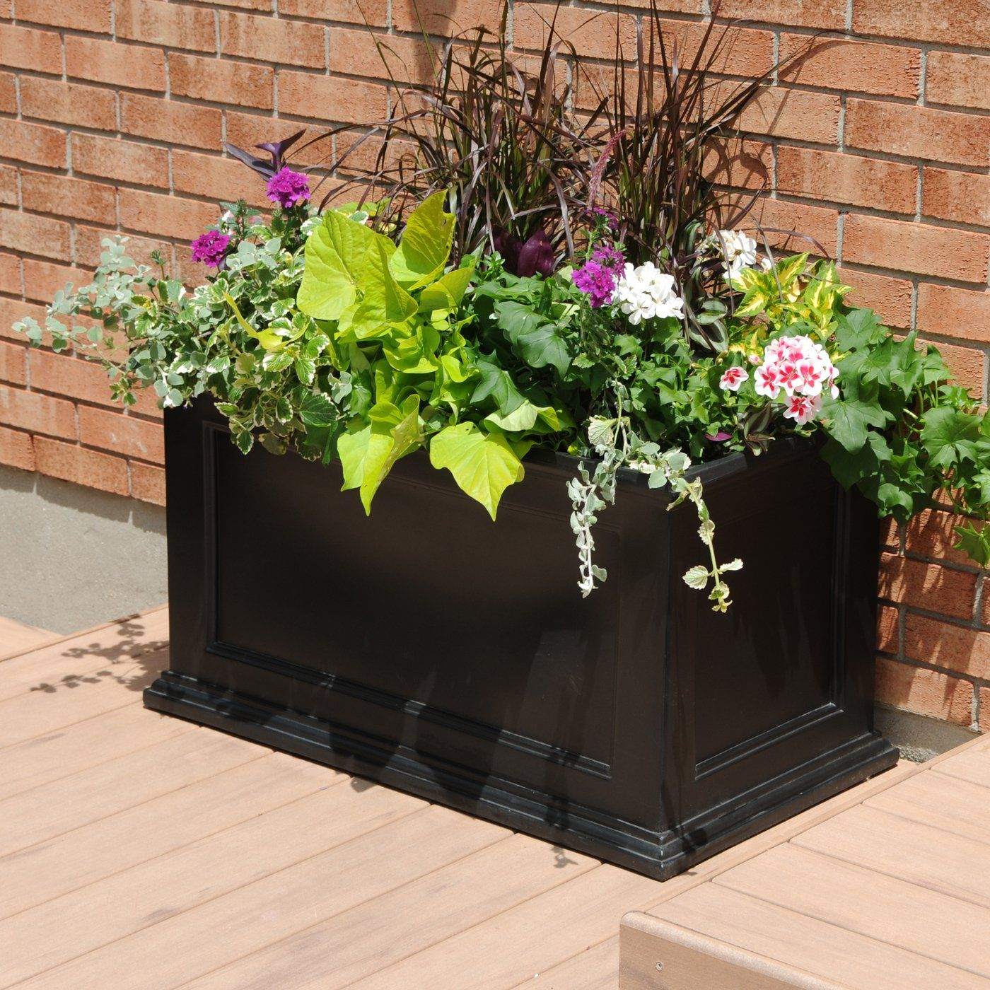 mayne 5826 fairfield black 20 in x 36 in rectangular patio planter at lowes - Patio Planters Ideas