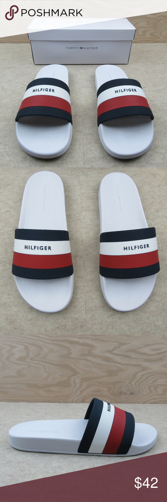 e9f4e5a9a Tommy Hilfiger Men s Earthy Slides Sandals Size 11 Tommy Hilfiger Men s  Earthy Slides Sandals White Style - Slides Men s Size 11 Brand NEW with Box  Makes a ...