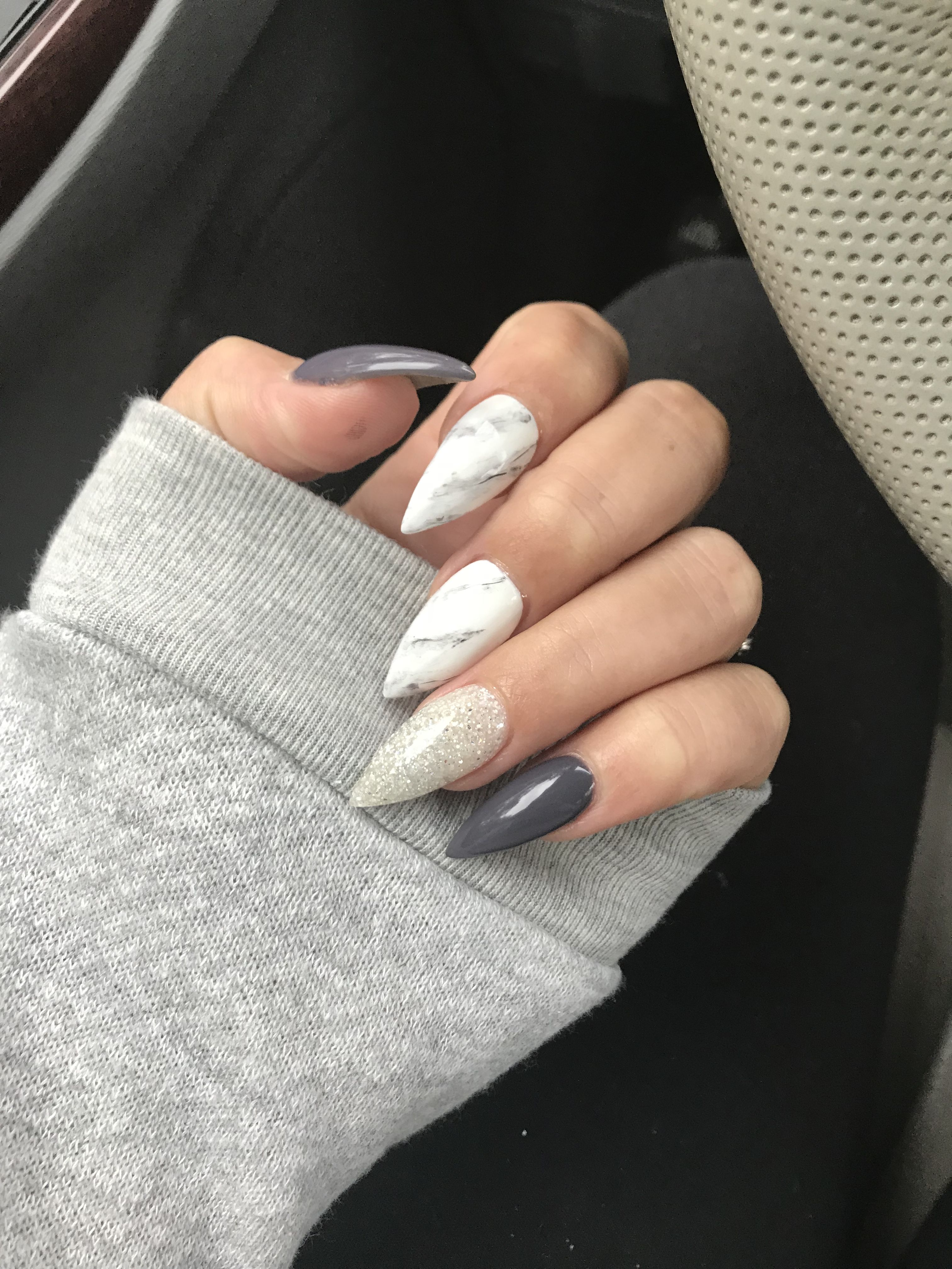 Grey and white Marble nail art. Pointy nails   nails   Pinterest ...