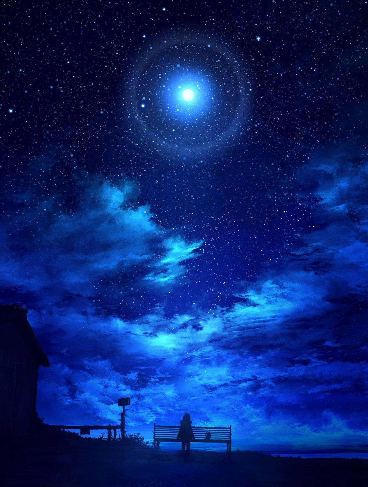 Starry sky, Lonely girl Anime scenery, Night sky